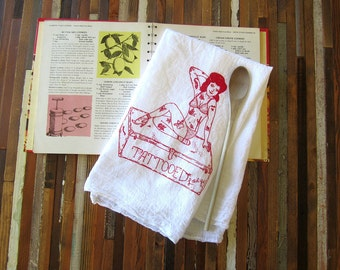 Tea Towel - Screen Printed Flour Sack Towel - Vintage Circus Tattooed Lady - Kitchen Towel - Eco Friendly Cotton Towel - Classic Flour Sack