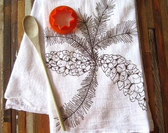 Tea Towel - Screen Printed Flour Sack Towel  - Eco Friendly Cotton - Absorbent Dish Towel - Woodland Pine cone - Classic Flour Sack Towel