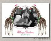 Photo Holiday Card - Set of 50 Cards - Safari Chic Giraffe Christmas Photo Card by Abigail Christine Design