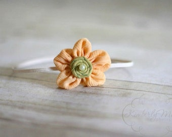 Peach and Green Fabric Flower Skinny Headband