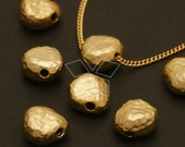 ME-125-MG / 2 Pcs - Mini Hammered Pebble Beads, Matte Gold Plated over Brass / 9.5mm