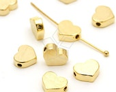 ME-127-GD / 4 Pcs - Tiny Flat Heart Bead Centerpiece, Brushed Finish, Gold Plated over Brass / 7mm x 6mm