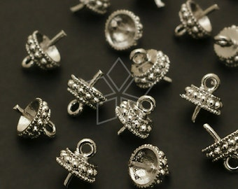 CP-038-OR / 8 Pcs - Round Box Bead cap with peg, Silver Plated over Brass / 5.5mm