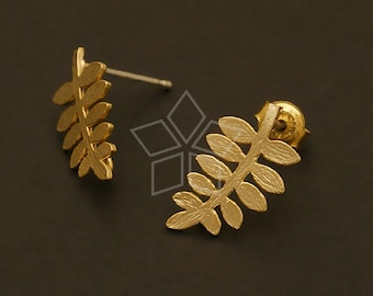 SI-512-MG / 2 Pcs - Acacia Earring Findings, Matte Gold Plated over Brass Body with .925 Sterling Silver Post / 9mm x 15mm