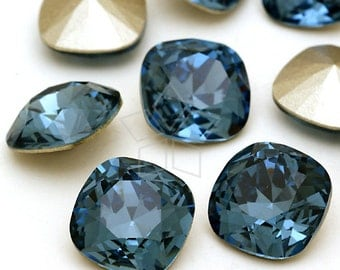 SW-4470-DB / 2 Pcs - Swarovski 4470 Crystal Fancy Stone, No-Hole Square (Denim Blue) / 12mm x 12mm