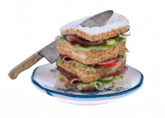 beef salad  sandwiches for two miniature food