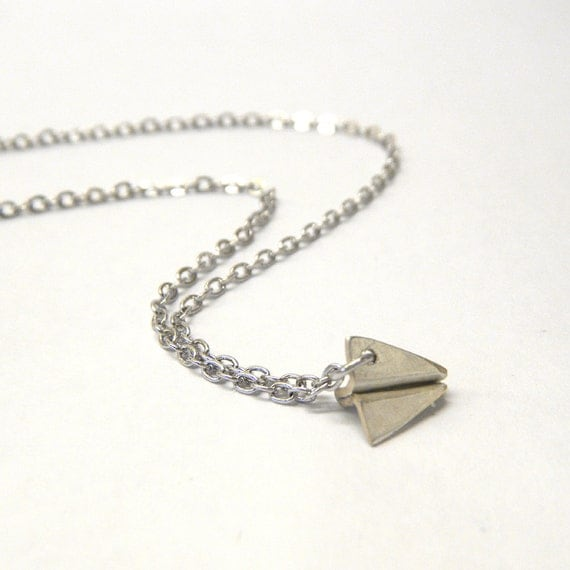 Silver Paper Airplane Necklace - Teeny Tiny Paper Plane Necklace, Origami Jewelry, Handcrafted Metalwork Pendant - 'Paper Plane'