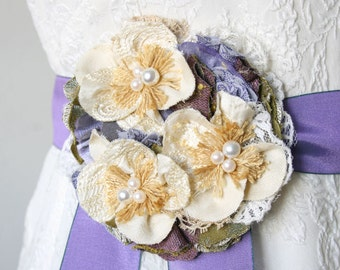 Fabric Flower Pin, Mom To Be Corsage, Baby Shower Corsage, Wedding Dress Brooch, Lilac Corsage, Hat Pin, Dress Pin, Floral Brooch, Large Pin