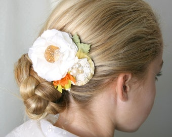Bridal Hair Piece,  Bride Hairpiece, Bride Barrette, Wedding Floral Hairpiece, Fabric Flower for Hair
