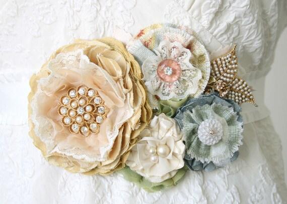 RESERVED for Haley D., Bridal Sash Belt, Floral Wedding Gown Sash with Vintage Pearl Brooch