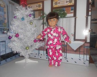 """Penguins pajamas on Hot Pink snuggle flannel fit 18"""" American Girl doll"""