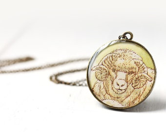 White Sheep Aries Art Pendant Necklace Vintage Art, Round Pendant Horoscope Astrology Zodiac