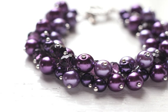 dark purple wedding bridesmaid jewelry pearl cluster by