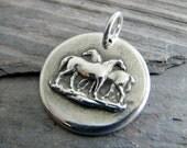 Silver Horse Jewelry, Handmade Fine Silver Pendant, Love Is