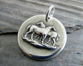 Silver Horse Jewelry, Handmade Fine Silver Pendant, Love Is
