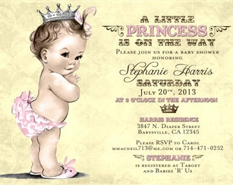 Vintage Baby Shower Invitation For Girl - Princess - Crown - Pink - Stephanie Collection - Yellow & Pink - DIY Printable