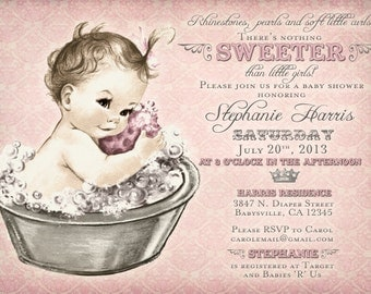 Vintage Baby Shower Invitation For Girl - Baby Bath - Pink - DIY Printable