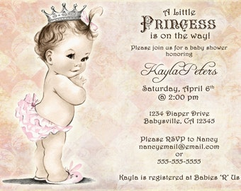 Vintage Baby Shower Invitation For Girl - Princess - Crown - Pink - FREE SHIPPING or DIY Printable