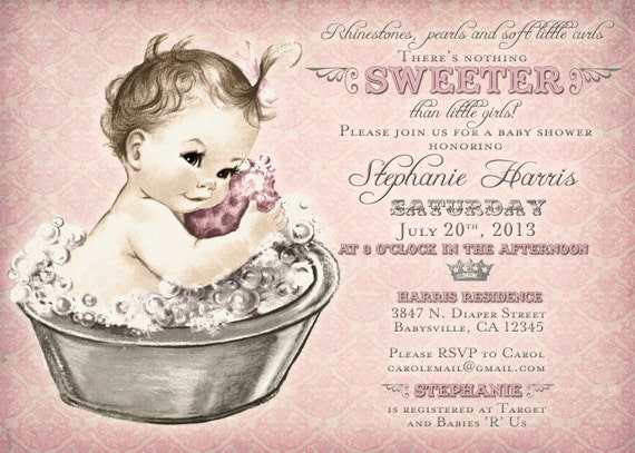 vintage baby shower invitation for girl baby bath pink, Baby shower invitation