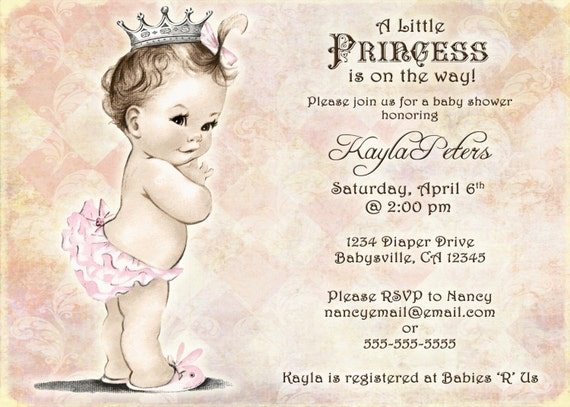 vintage baby shower invitation for girl princess crown, Baby shower