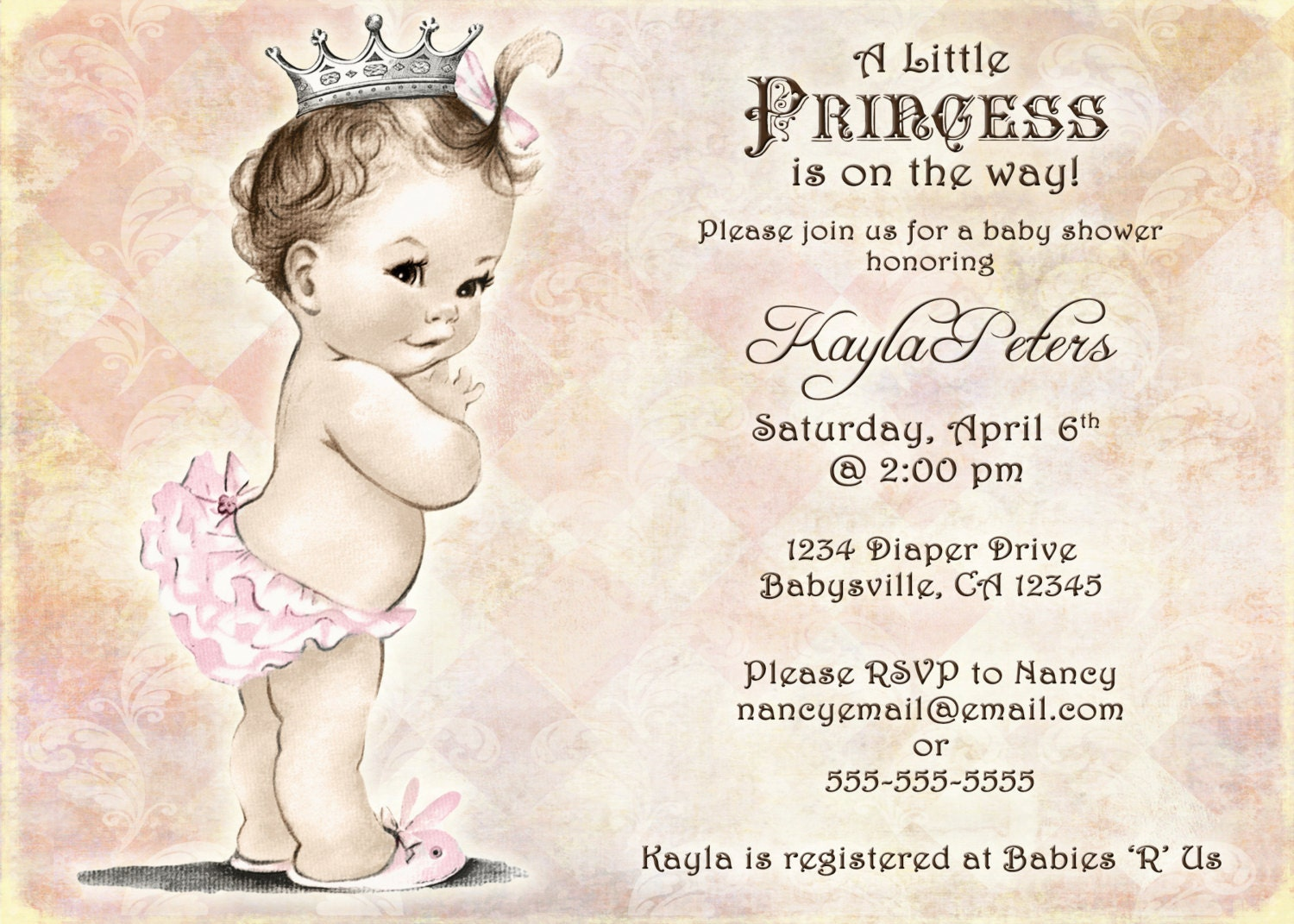 vintage baby shower invitation for girl princess crown, Baby shower invitations