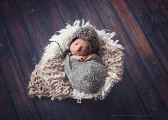 Newborn Photography Prop / Textured Basket Stuffer / Mini Blanket- AMAZING hand-spun yarn