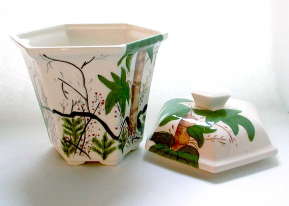 Canister Handpainted Palm Tree Vintage Free Shipping