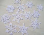 12 Small Crocheted Snowflakes (A23)