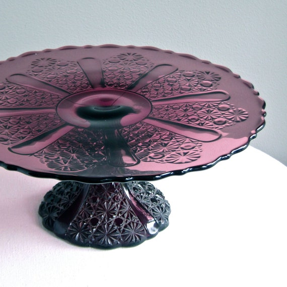 Vintage Amethyst Glass Cake Stand Daisy and Button Pattern 13 inch EAPG