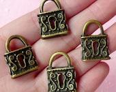 Key Lock Charms Antique Bronzed (4pcs) (17mm x 23mm) Metal Finding Pendant Bracelet Earrings Zipper Pulls Bookmarks Key Chains CHM065