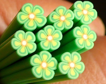 Green Flower Polymer Clay Cane Flower Fimo Cane Miniature Sweets Decoration Nail Art CFW055