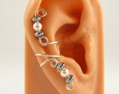 Ear Cuff Sterling Earring Cartilage Swarovski White Pearls