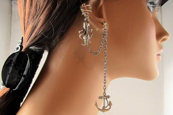 Octopus and Anchor Earring Nautical Silver Chain Ear Cuff Steampunk Handmade