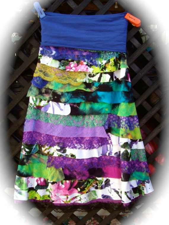 Womens Skirt Funky Wearable Art collage patchwork bohemian lace earthy one of a kind hippie chic boho gypsy skirt