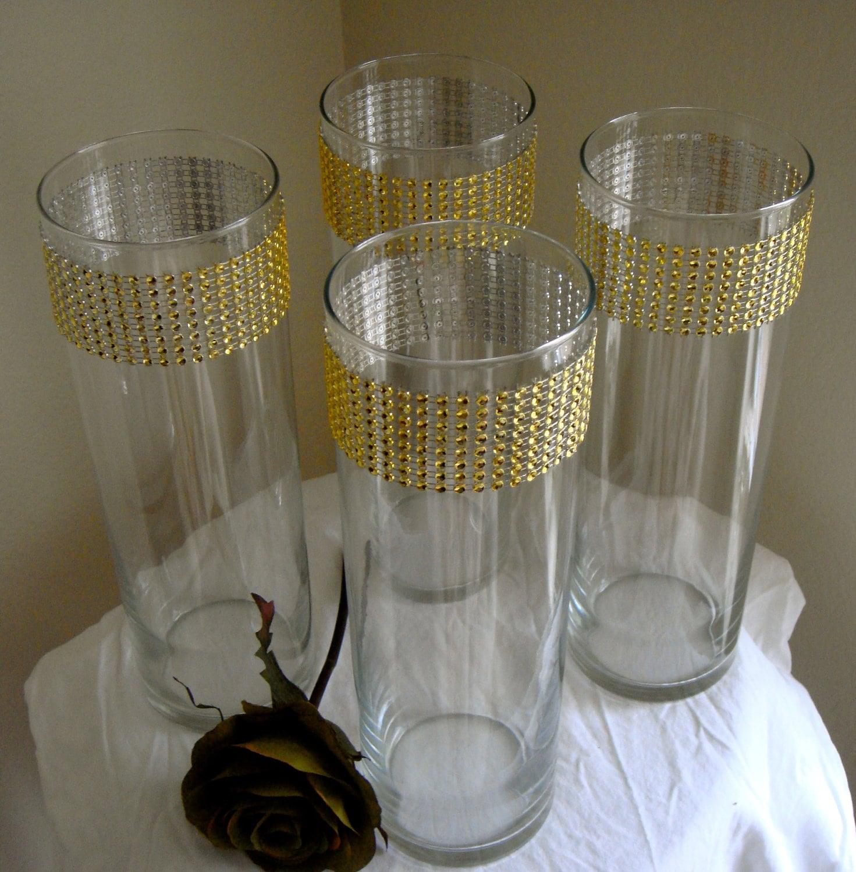 Set Of 10 Gold Rhinestone Wrap Glass Cylinder Vases Wedding