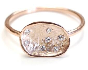 Organic Engagement Ring, Diamond Ring, Pod Ring, Gold Diamond Ring, Diamond Engagement Ring, Diamond Pod, Rose Gold, Organic, Rustic, Nixin