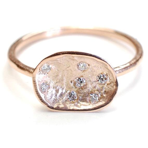 Organic Engagement Ring Diamond Ring Pod Ring Gold Diamond
