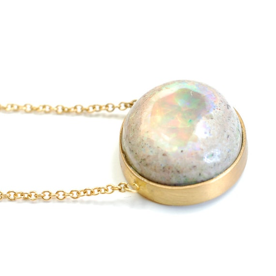 Opal Necklace, Opal and Gold Necklace, Pendant Necklace, Fire Opal Necklace with Satin Finish Yellow Gold Bezel, OOAK, Nixin
