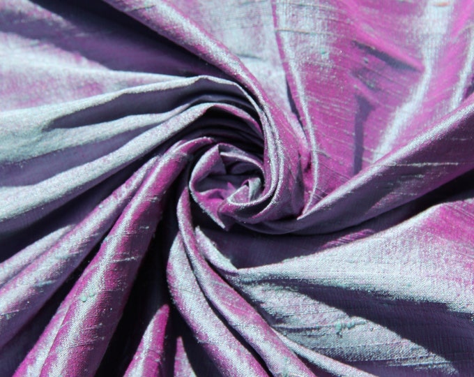 Blue Fuchsia Pink iridescent 100% Dupioni Silk Fabric Wholesale Roll/ Bolt