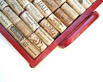 Red Japanese Lacquer Wine Cork Board Repurposed from an Old Tray