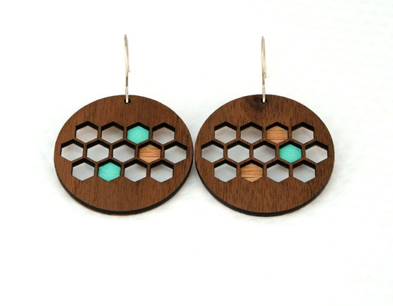 Honeycomb Earrings : Walnut Wood / Turquoise for Women or 5 Year Anniversary Gift