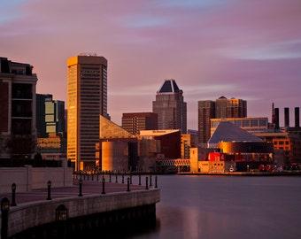 Baltimore Art, Downtown Baltimore at Sunset,  Fine Art Color Photograph, Baltimore Skyline