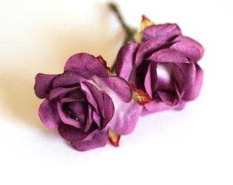 Hello Purple Rose, Bridal Hair Accessory, Wedding Hair Accessories, Bridesmaid Hair Flower, Purple Hair Flower, Brass Bobby Pin Set of 2
