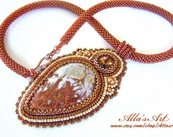 Seed bead necklace with Russian Jasper