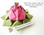 Valentine Gift - Paper Flower - PERSONALIZED Message Origami Lotus Flower / Fuchsia Pink & Moss Green + gift box - Mother's Day, anniversary