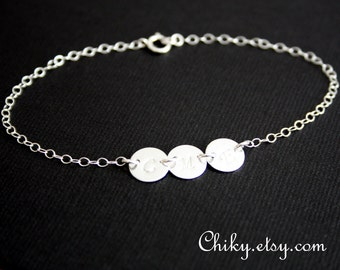 Three Initial disc bracelet - Sterling Silver, engraved Disc, personalized bracelet , family initial , mothers bracelet, mother's day gift
