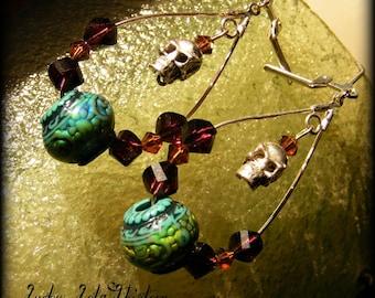 Rockabilly skull Swarovski silver and mood focal bead earrings