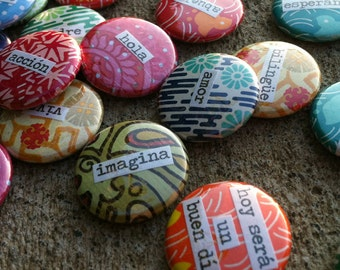 Palabras Españolas - Spanish Words - 4 Pinback Buttons, Magnets, Zipper Pulls, Mirrors, Bottle Openers, or Ornaments