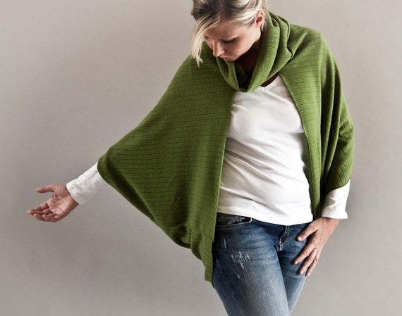 ON SALE-Cowl Neck Sweater Cardigan in Moss Green-Oversized Poncho Cardigan-Open Front Shrug Bolero-Plus Size Bolero Shrug by MoonHalo