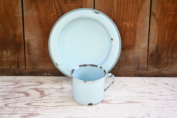 Light Blue Enamel Cup and Saucer - From 1940s